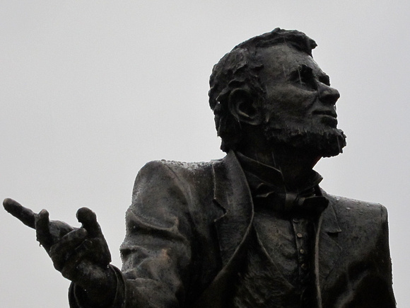 "Lincoln's friend, Jesse Fell, is the left-hand figure in ""Convergence of Purpose"" by sculptor Andrew Jumonville."